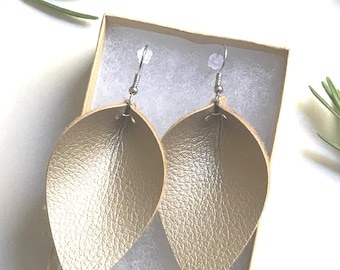 Gold Petal Faux Leather Drop Earrings