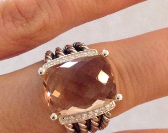 Pre Ownded David Yurman Wheaton Morganite  Ring 16mmx12mm and Pave Diamonds