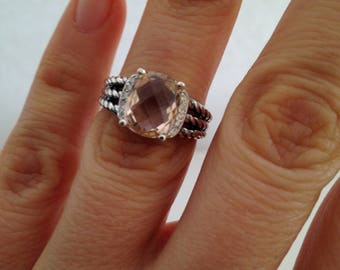 Pre Owned David Yurman Petite Wheaton Morganite and Diamond  Ring 10mmx8mm