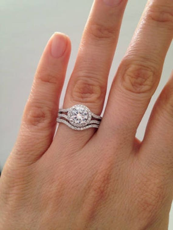 Items similar to Halo Engagement Ring Set, Hand-Setting 2 ...
