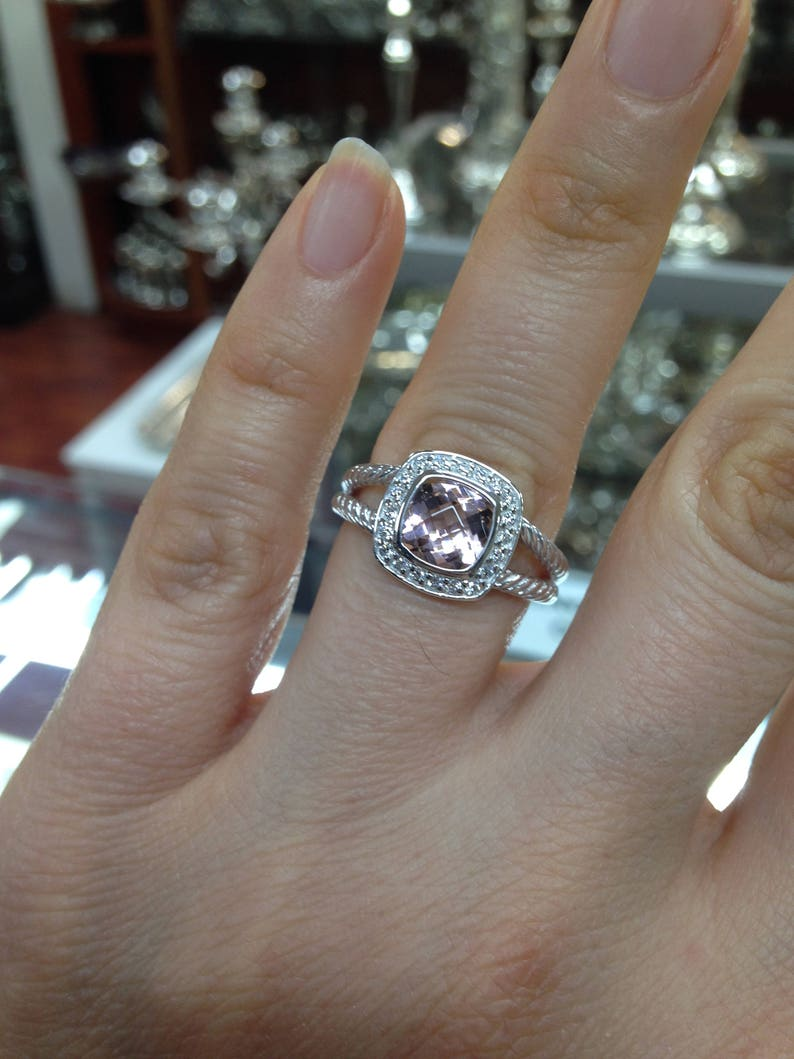 316846aa15f3a Pre Owned David Yurman Petite Albion Morganite Ring 7x7 Pave