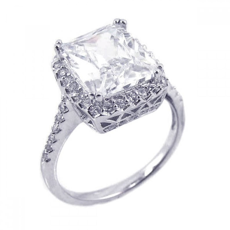 Vintage Engagement Ring Engagement Ring Anniversary Ring Promise Ring 4ct Radiant Shape Engagement Ring