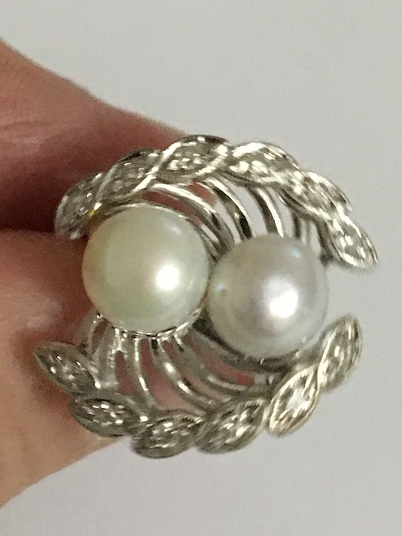 Vintage Ring, Pearl and Diamond Ring, Vintage Pear