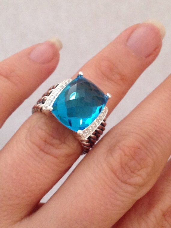 69d0c8afb9aa Pre owned David Yurman Wheaton Blue Topaz Ring 16mmx12mm and