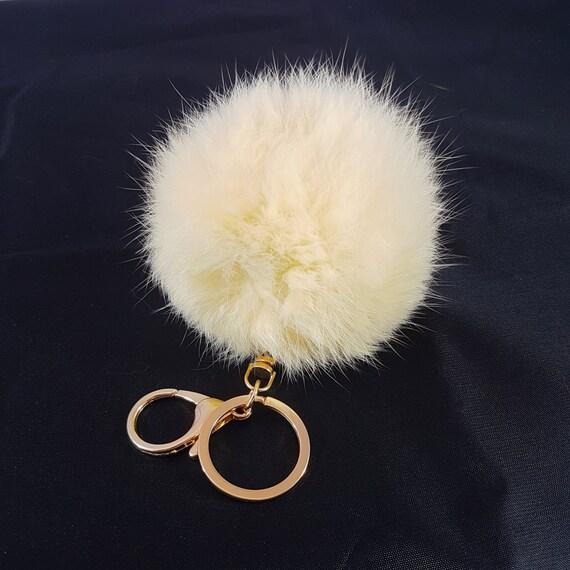 Crème accessoire de charme pour le porte-clé, bijou de sac à main, véritable fourrure de lapin Pom Pom, porte clé boule de fourrure, fourrure de lapin, fourrure porte-clé, boule de fourrure véritable