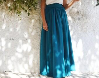 Petrol Blue Skirt, Chiffon Skirt, Long Skirt, Women Skirt, Fashion Skirt, Circle skirt, Boho skirt, Prom Skirt, Engagment Skirt, Party Skirt