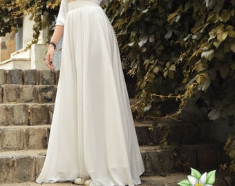 Ivory Chiffon Skirt, Wedding Skirt, Floor Length Skirt, Maxi Skirt, Engagment Skirt, Bridesmaid Skirt, Chiffon Skirt, Flower Girl, Wedding