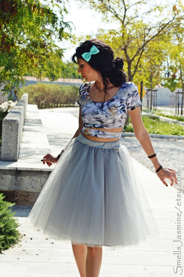 2016 Le Silver Tulle Skirts A Line Knee Length Fashion Women Short Custom Made Mesh In From S Clothing On Aliexpress