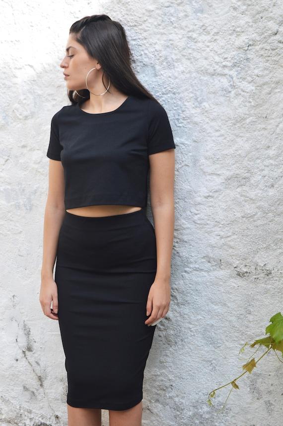 Noir jupe, jupe mi longue noir, jupe crayon noir, crayon jupe élastique jupe Stretch jupe femmes tenue jupe