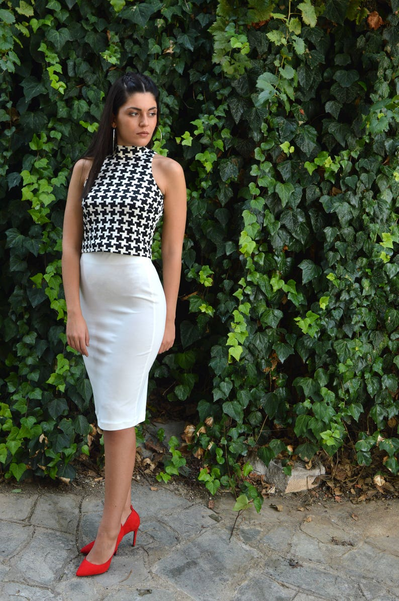 d6b57b7d6bb Ivory Pencil Skirt & Crop Top Black White Crop Top Skirt Top | Etsy