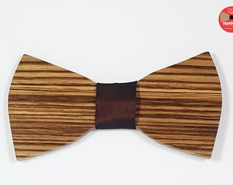 Zebrano Bahamas, zebrano wooden bow tie, customizable men's accessories