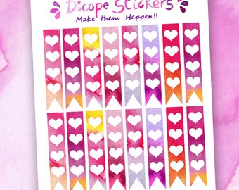 Hearts checklists Planner Stickers / Purple Orange Pink checklists / Watercolor Hearts checklists Planner Stickers