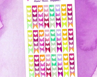 Small Watercolor 4 Hearts checklists Planner Stickers /  Purple Yellow Blue Orange Pink checklists / Happy Hearts checklists Stickers