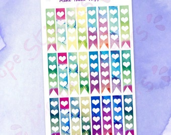 Small Watercolor 4 Hearts checklists Planner Stickers /  Purple Green Blue Pink checklists / Magic Hearts checklists Stickers