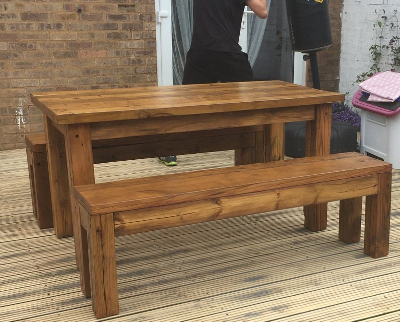 Fabulous Handmade Table And Two Benches Solid Pine Reclaimed Timber Farmhouse Style Wooden Table And Bench Evergreenethics Interior Chair Design Evergreenethicsorg