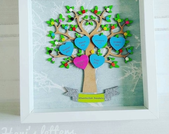 Personalised family tree frame, gift for family, personalised gift, mother's day gift, father's day gift, birthday gift, anniversary gift