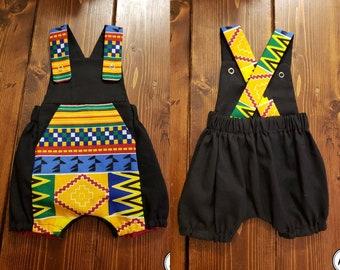 24ddf2bc1 African Kente Ankara Fabric Boys Romperalls // Romper & Overalls // Sibling  Set