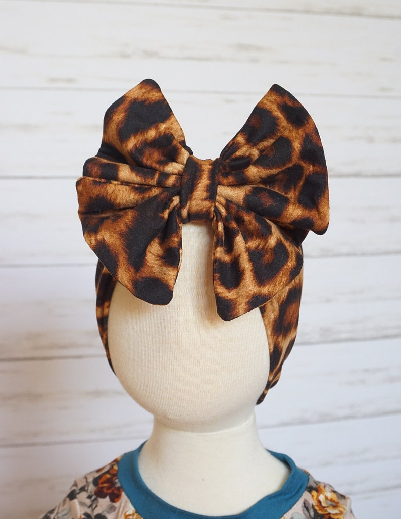 NEW Colors  Headhugger Bow Wraps  Bow Head  Leopard and Multiple Colors  NEWBORN up to CHILD Sizes