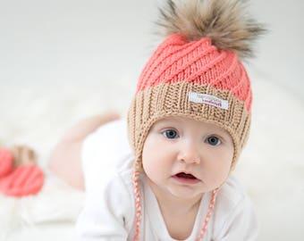 Baby pom pom hat, baby autumn/spring hat, Custom, made to order, Earflap Hat, Knit Hat, Merino Wool Hat, baby, toddler, child, girl, boy