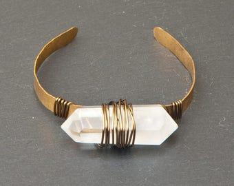 quartz bracelet, Crystal cuff, crystal bangle, raw quartz, crystal bracelet, crystal jewelry, raw jewelry, raw stone, raw crystal, bracelet