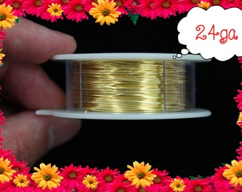 24ga 100ft Gold Wrap Wire, Gold Wrapping wire, gold Beading wire, gold Jewelry Wire,