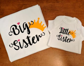 Big Sister Little Sister Crowns - Matching Sister Shirts - Big Sister Shirt - Little Sister Shirt - Big Little Sister Shirts - Sister TShirt