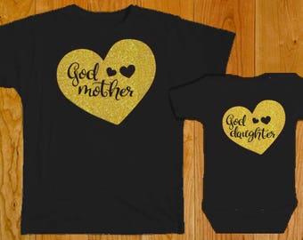 Godmother Goddaughter Shirts - Goddaughter Gift - Godmother Gift - Godmother Shirt - Baptism Gift - Christening Gift - Baby Shower Gift
