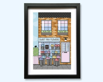 Sweet Pea Flowers Shop Front Art Print // A5 Unframed 350gsm Premium Uncoated Card