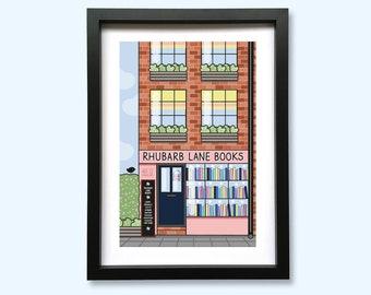 Rhubarb Lane Books Shop Front Art Print // A5 Unframed 350gsm Premium Uncoated Card
