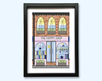 The Happy Shop, Shop Front Art Print // A5 Unframed 350gsm Premium Uncoated Card