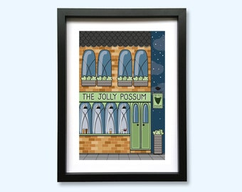 The Jolly Possum Pub Front Art Print // A5 Unframed 350gsm Premium Uncoated Card
