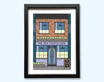 The Sea Thistle Cafe Front Art Print // A5 Unframed 350gsm Premium Uncoated Card
