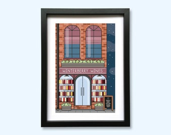 Winterberry Wines Shop Front Art Print // A5 Unframed 350gsm Premium Uncoated Card