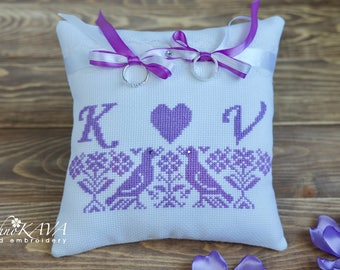 Lavender hand embroidery ring bearer pillow Monogrammed ring pillow with birds Boho wedding Ring holder Wedding cross stitch Love birds