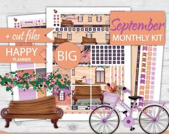 September Big Happy Planner Monthly View, Big Happy Planner Monthly kit, Big Monthly Planner Kit,Printable Big Happy Stikcers,No year HPB-83