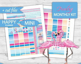 MINI Happy Planner Kit, July monthly kit, Mini Happy Planner Monthly Kit,July Planner Stickers Printable, Monthly view,cutfile HPM-02