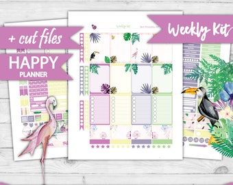 MAMBI Happy Planner Stickers, Classic Happy Planner Weekly Kit, Pritnable Planner Stickers, Summer Weekly Kit, Tropical Planner Set, HP-70