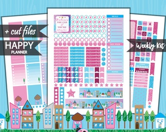 Happy Planner Weekly Planner Kit, HAPPY Planner, Happy Planner Stickers Printable , Mambi Planner Stickers, Full weekly kit, cut files HP-01