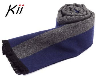 Luxurious Gray Striped Mens Scarf * Gift for Him * Winter Scarf * Man Scarf * Xmas Gift for him * Husband Gift Scarf * Boyfriend Gift