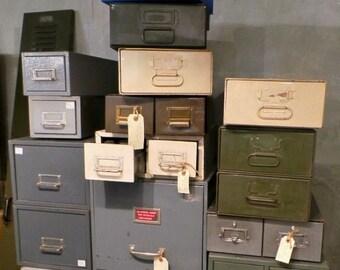 Vintage métal classeurs Bureau meuble rangement tiroir Multi unités rétro enlèvement seulement