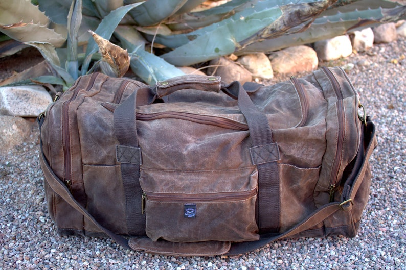 0ca1fb212dab Brown Waxed Canvas Duffle Bag Duffel Bag Gym Bag Overnight