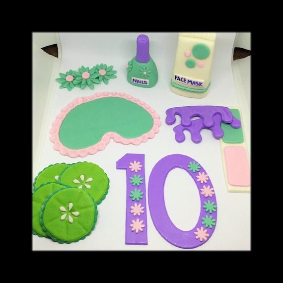Spa Cake Toppers Spa Themed Cake Topper Birthday Cake Etsy