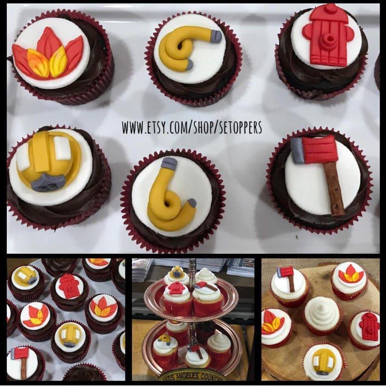 Fireman Cupcake Toppers Custom Fireman Toppers Custom Etsy