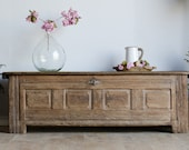 French Antique 18th Century Light Oak Trunk Coffer Box Bench Coffee Table