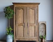 French Antique Late 18C Oak Armoire Wardrobe Linen Press Larder with Shelves