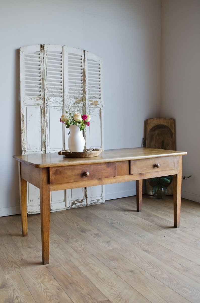 French Antique Fruitwood Farmhouse Country Rustic Dining Kitchen Table with  2 Drawers