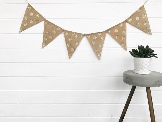 Gold Polka Dot Banner Sparkly Banner Rustic Glam Decor Rustic Glam Wedding Farmhouse Glam Glitter Gold Garland Gold Wedding Garland