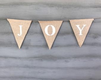 Holiday Joy Sign, White Burlap Banner, Joy Sign, Christmas Joy Décor, Joy Banner, Joy Garland, Christmas Burlap Banner, Rustic Christmas