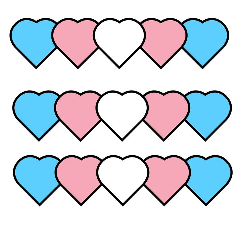 Trans Hearts set of 5 stickers 2x2 image 0