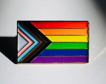 "NEW Progress Pride Rainbow Flag LGBT Pride Lapel Pin 1""."